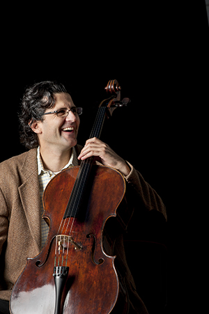 Photograph of Amit Peled, cellist and Johns Hopkins Professor at the Peadbody Institute on 10/28/14